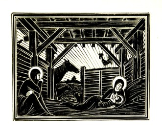 Eric Gill has the most amazing Christmas woodcuts. Do check them out: http://www.rockinghamgallery.co.uk/Artist_Pages/Gill/original_prints_by_eric_gill.htm