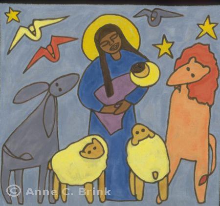 """Anne C. Brink, artist. """"Animal Nativity"""""""