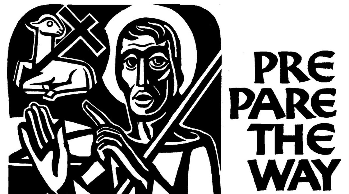 black and white graphic or John the Baptizer pointing to a lamb with a cross. the type says prepare the way